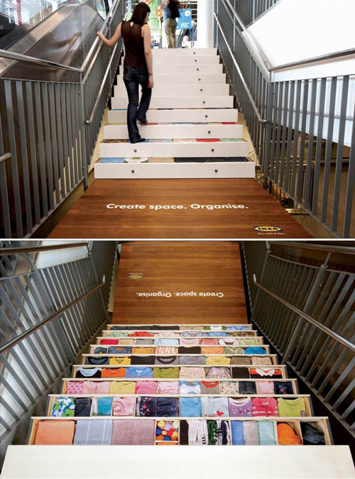 IKEA stair sticker ad: storage drawers