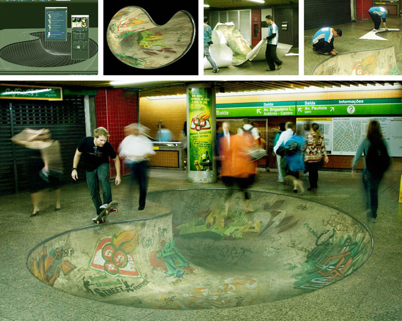 Creative floor sticker ad makes it look like a skateboard empty pool bowl