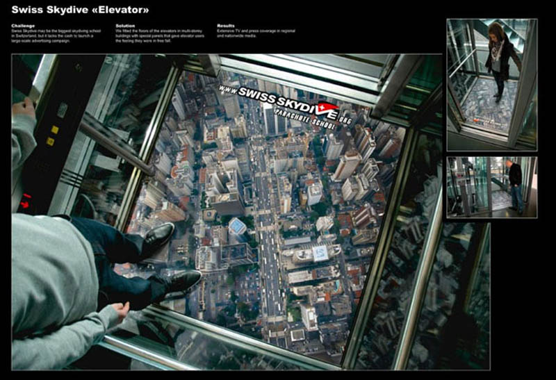 Skydiving elevator ad makes it seem like you are looking down on the city from a plane