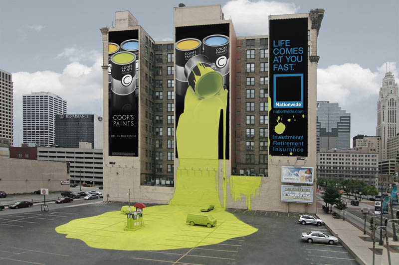 Outdoor ad looks like giant bucket of paint spilled onto parking lot ground