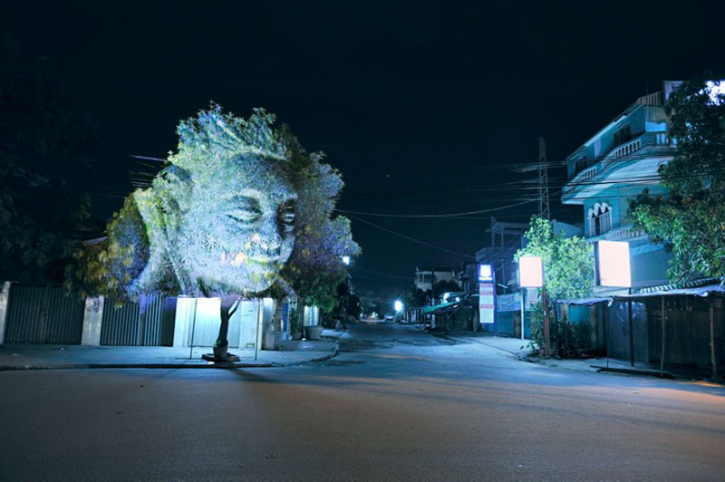Impressive 3D Images Projected Onto Trees #3