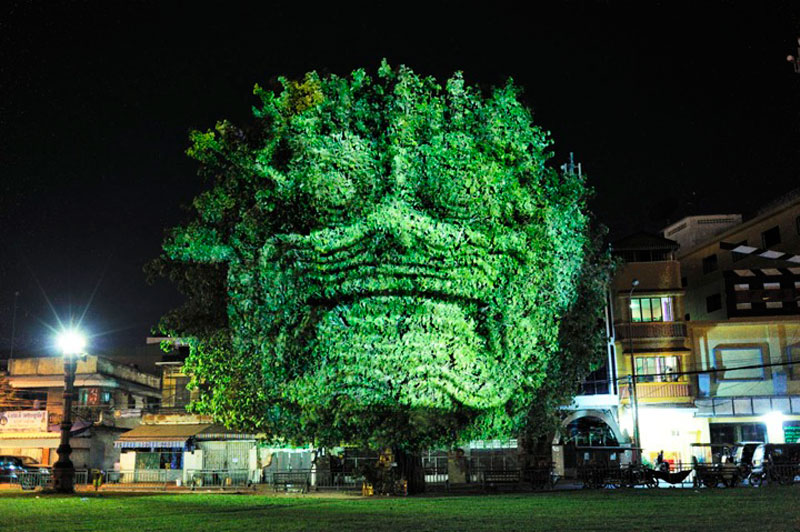 Impressive 3D Images Projected Onto Trees #2