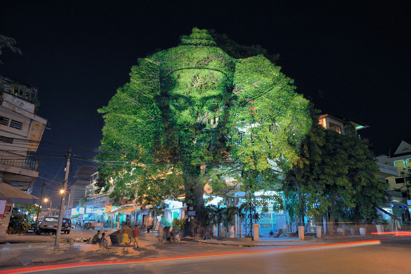 Impressive 3D Images Projected Onto Trees #1