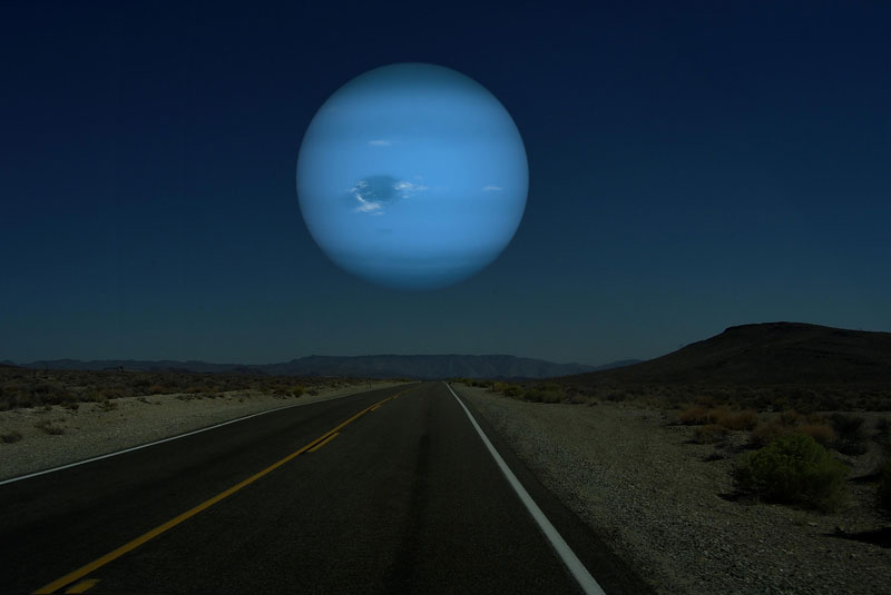If Neptune (diameter 49,244 km | 30,599 miles) was as close to Earth as the Moon