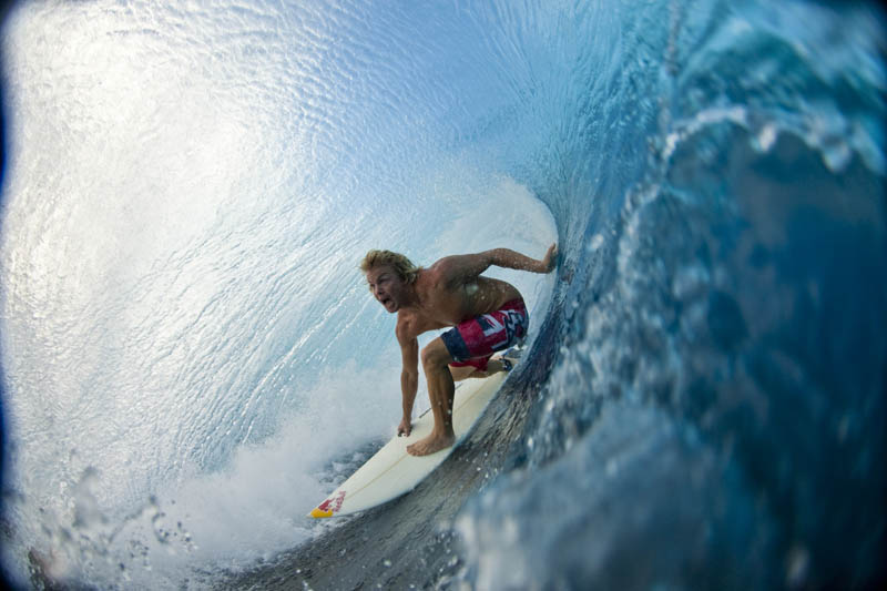 inside barrel of wave jamie obrien in tahiti