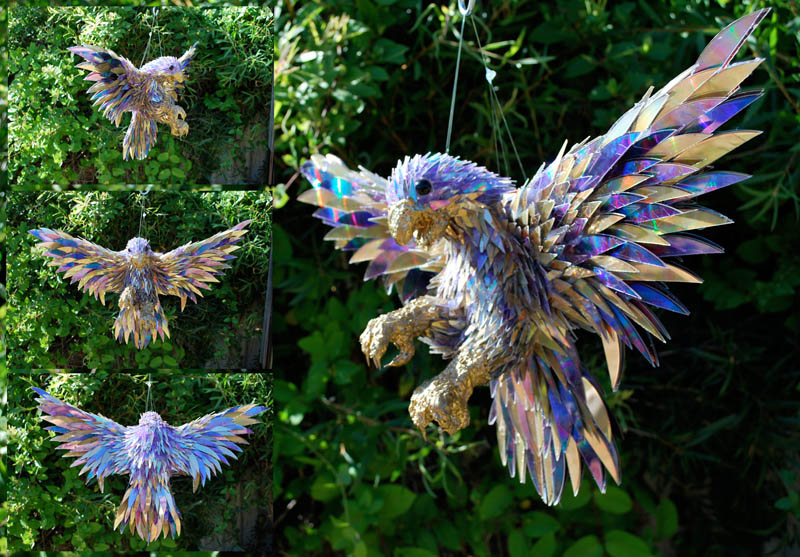 animal sculptures made from shattered cds sean avery (9)