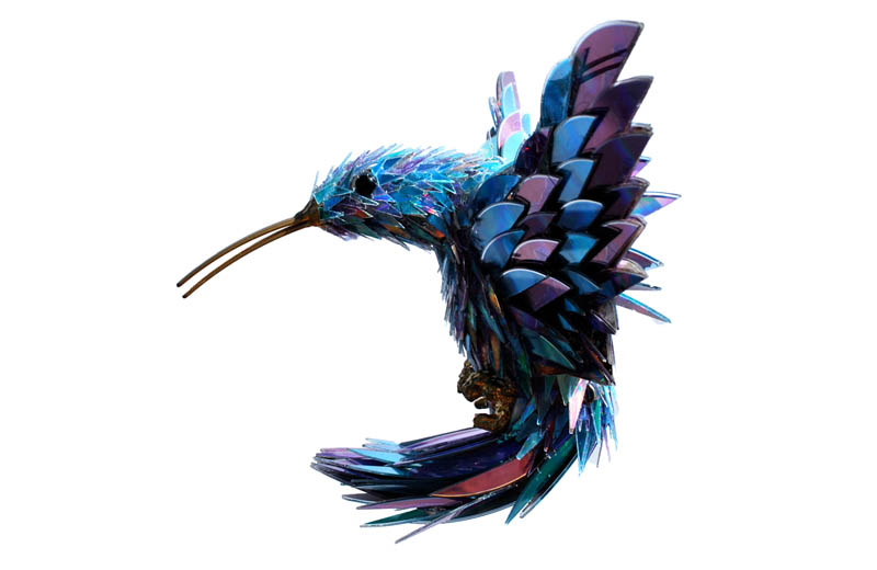 animal sculptures made from shattered cds sean avery (3)