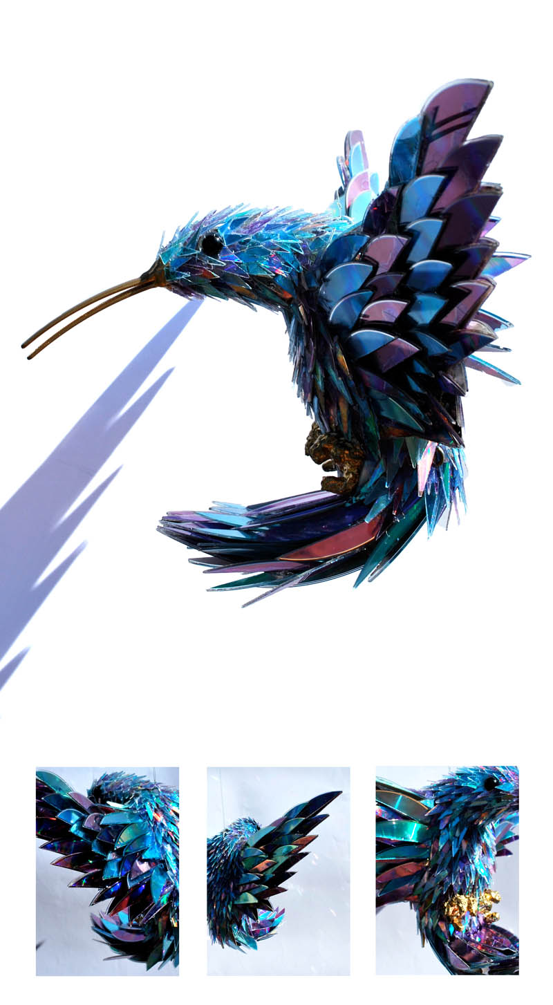 animal sculptures made from shattered cds sean avery (5)