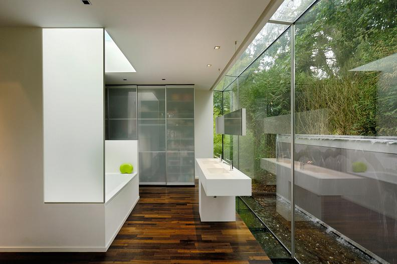 beautiful bathroom with wall to wall windows