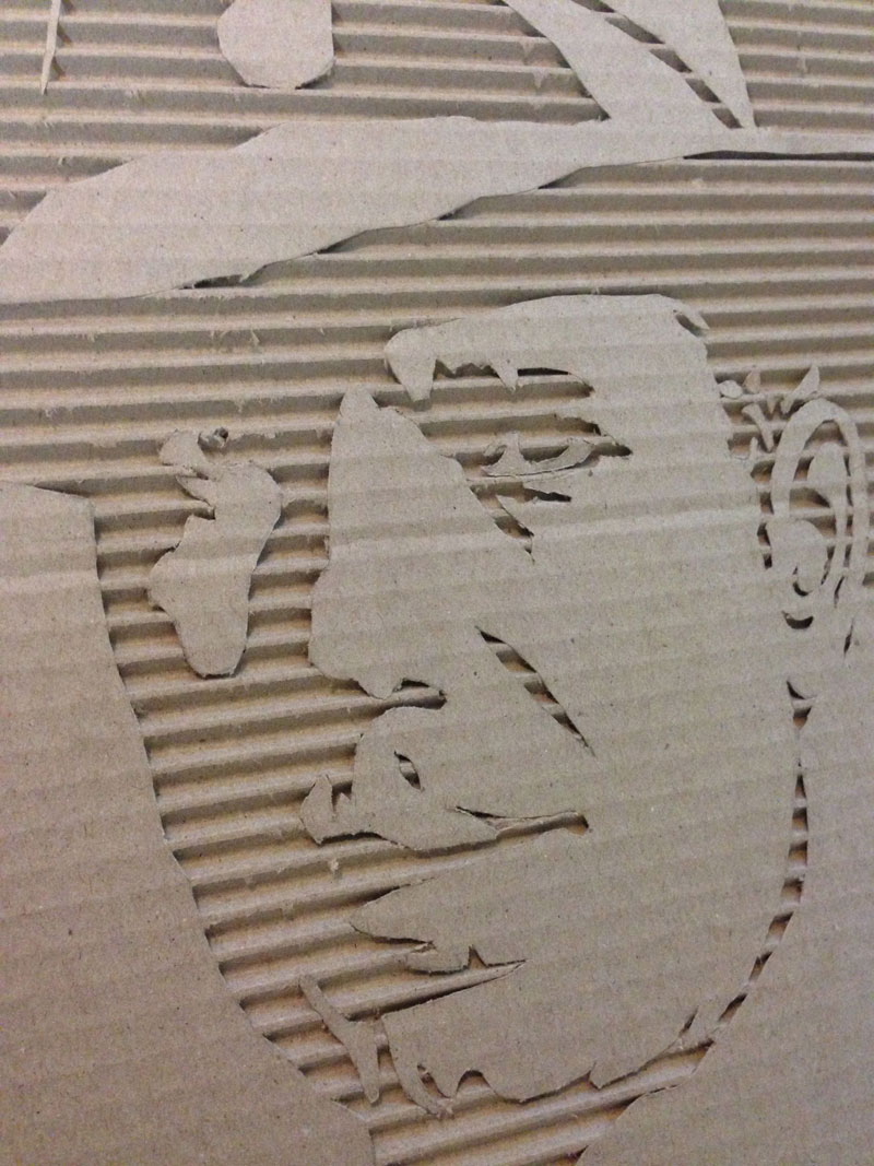 Celebrity Portraits Carved into Corrugated Cardboard Humphrey Bogart