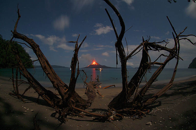 krakatau erupting from a distance