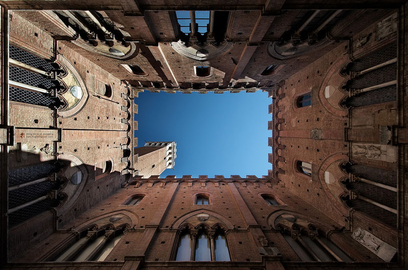 sky's the limit looking straight up in sienna perspective symmetry