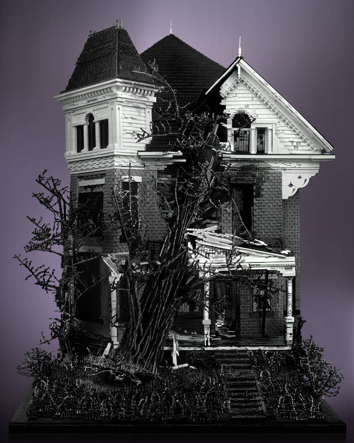 spooky haunted creepy abandoned victorian houses made of legos mike doyle 2