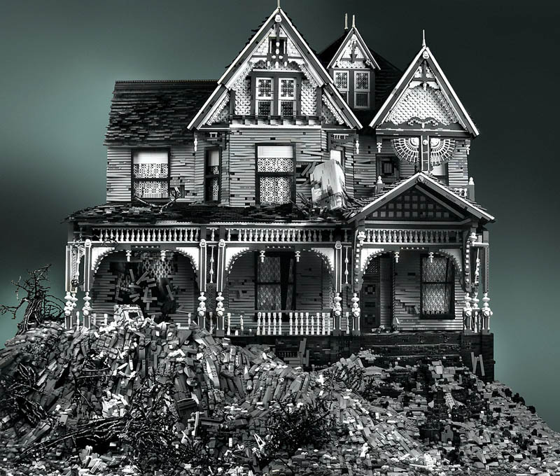 spooky haunted creepy abandoned victorian houses made of legos mike doyle 7