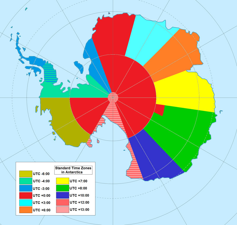 Map of time zones in Anarctica