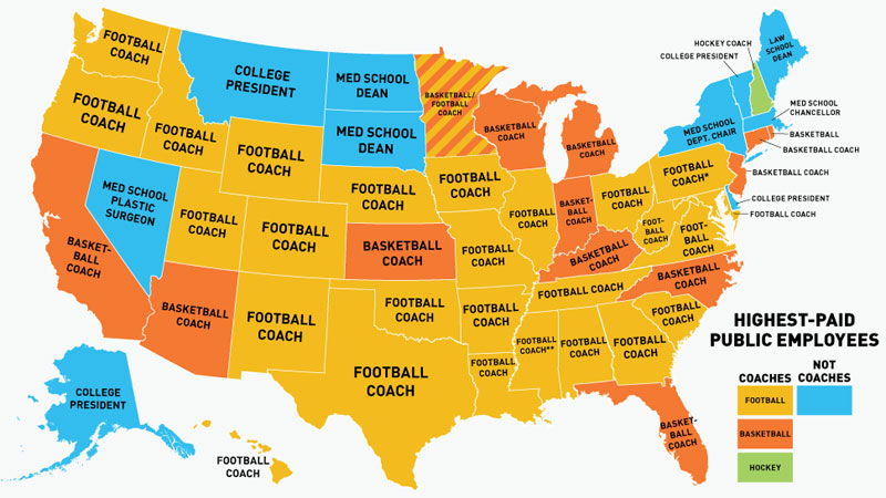 highest paid US public employees by state
