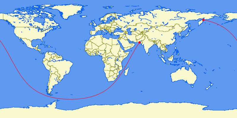 the longest straight line you can sail in the world