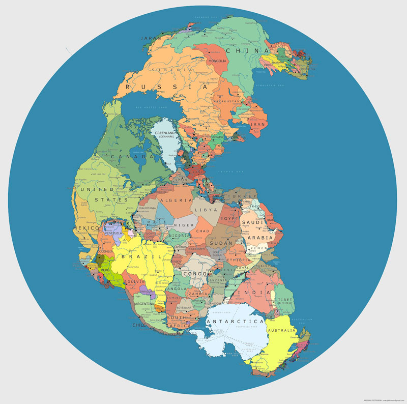 map of pangea with current internatoinal borders