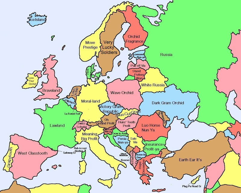 literal map of europe by chinese name