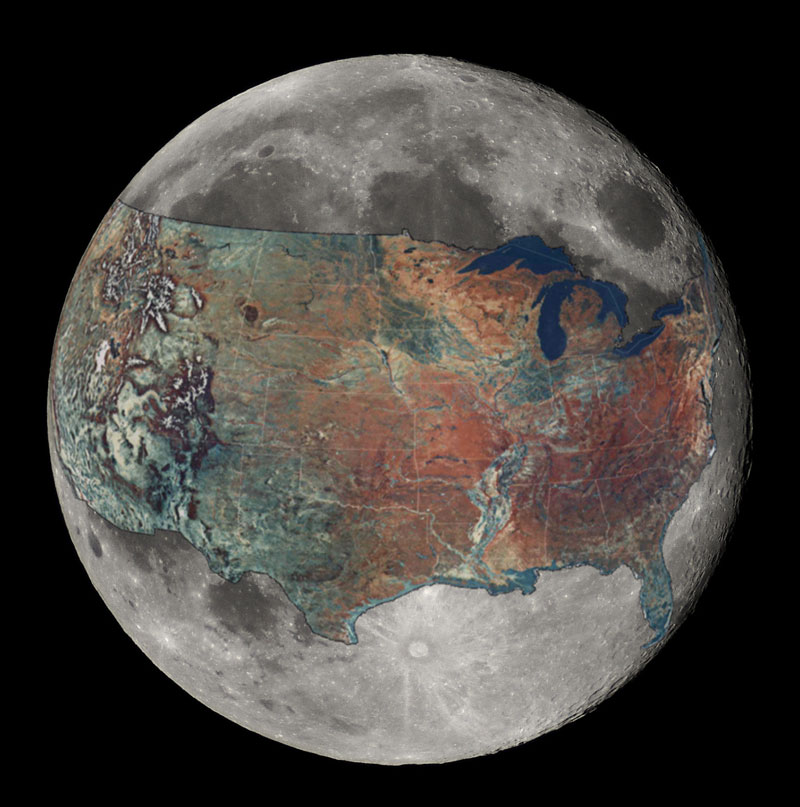 map of united states overlaid on the moon