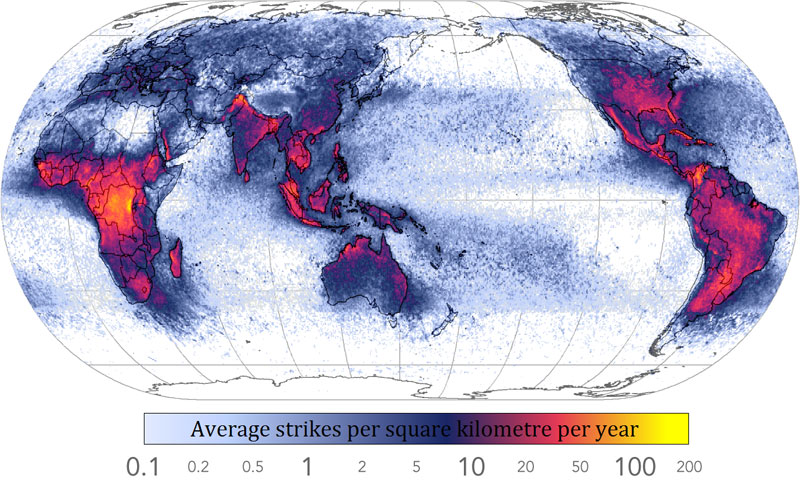 frequency of lightning strikes in the world