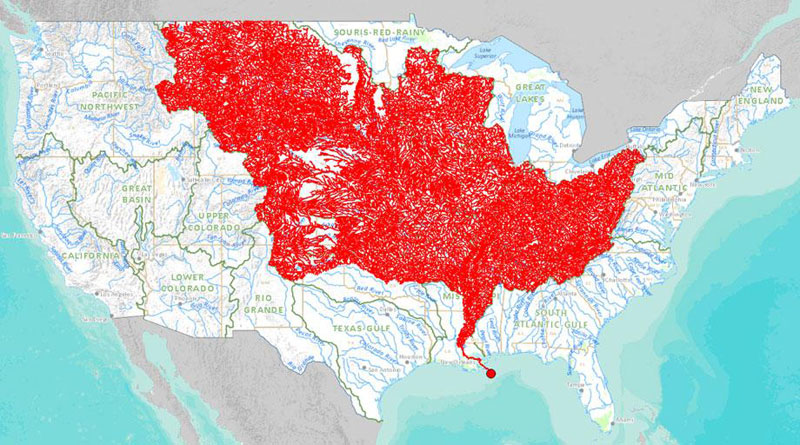 map of rivers that feed into the mississippi river