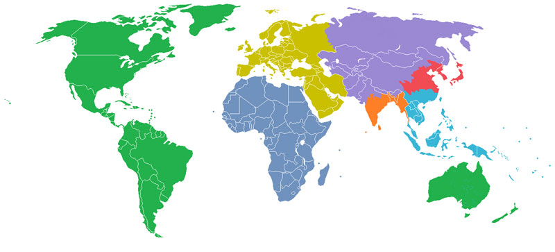 population of the world split into equal sections of one billion