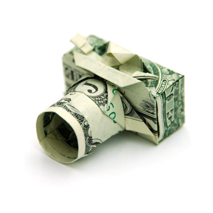 Camera made from dollar bill origami