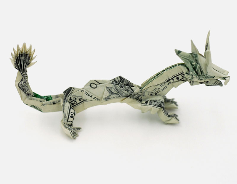 Dragon made from dollar bill