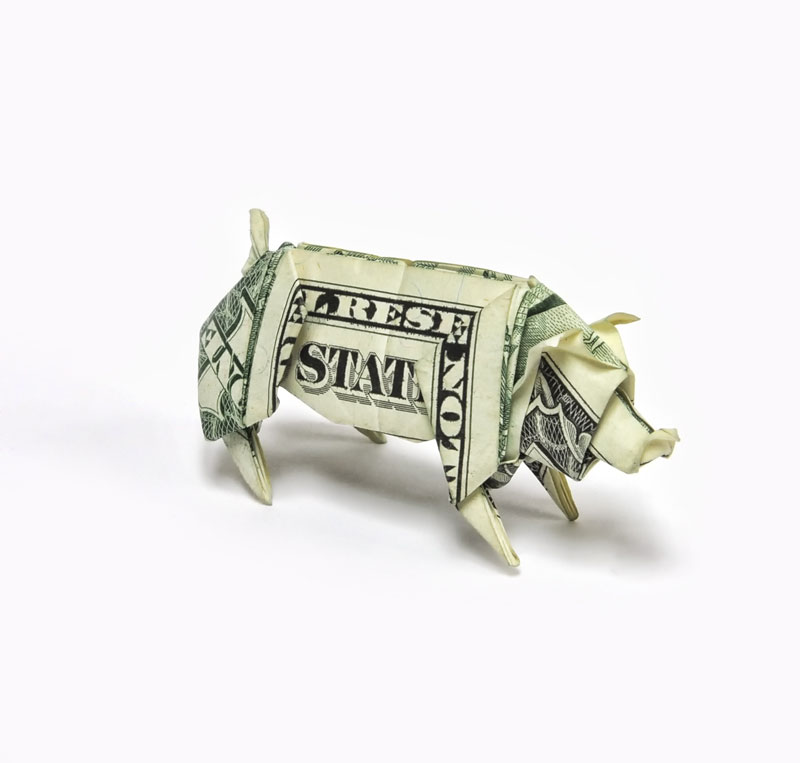 Pig made from dollar bill