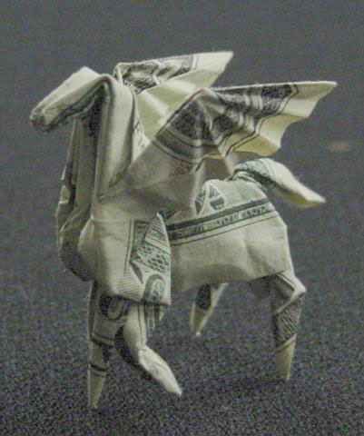 Pegasus made from dollar bill