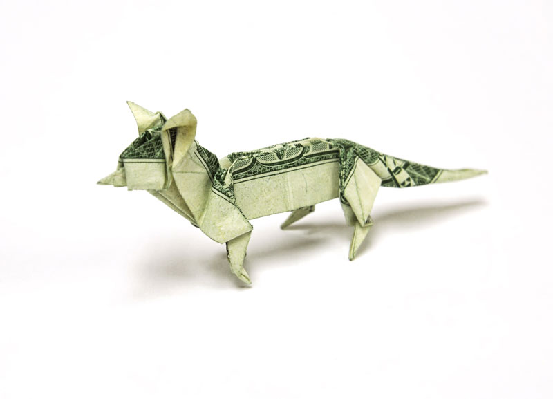 Fox made from dollar bill