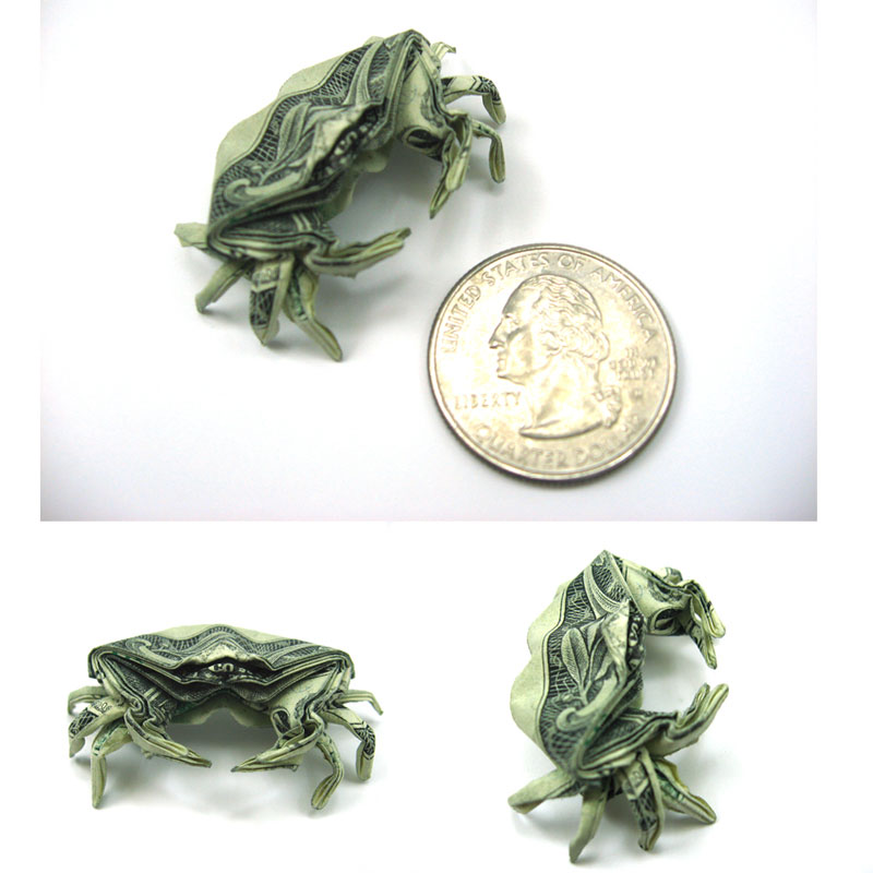 Crab made from dollar bill