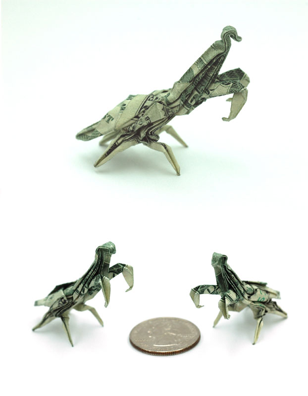 Praying mantis made from dollar bill