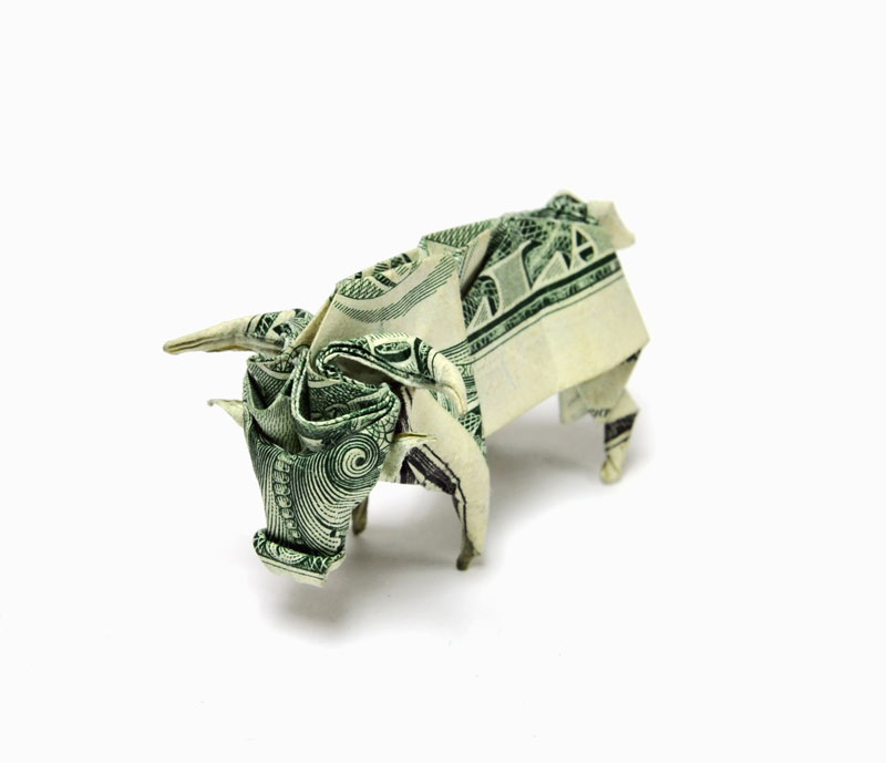 Bull made from dollar bill