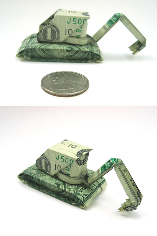 Digger made from dollar bill
