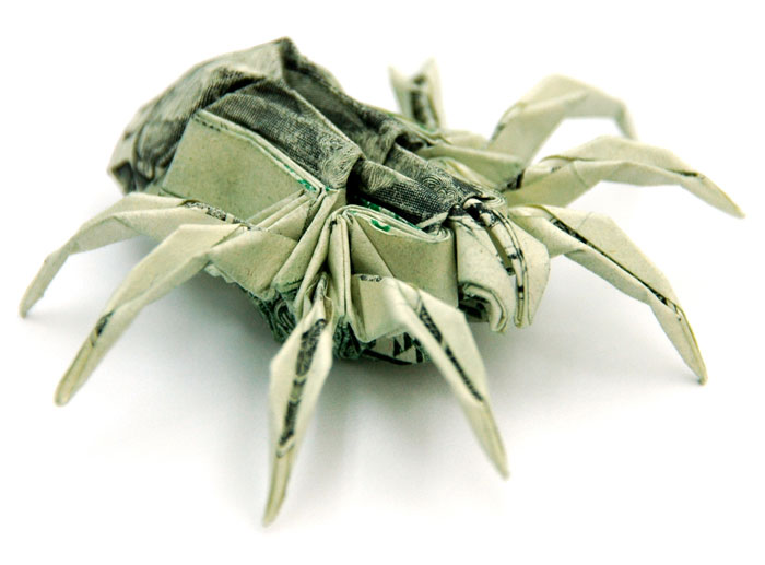 Spider made from dollar bill