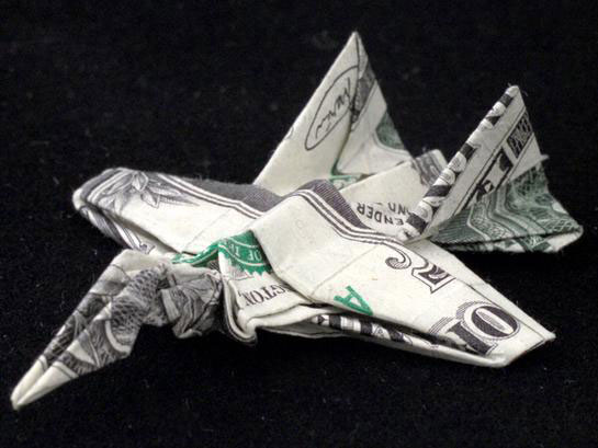 Fighter jet made from dollar bill