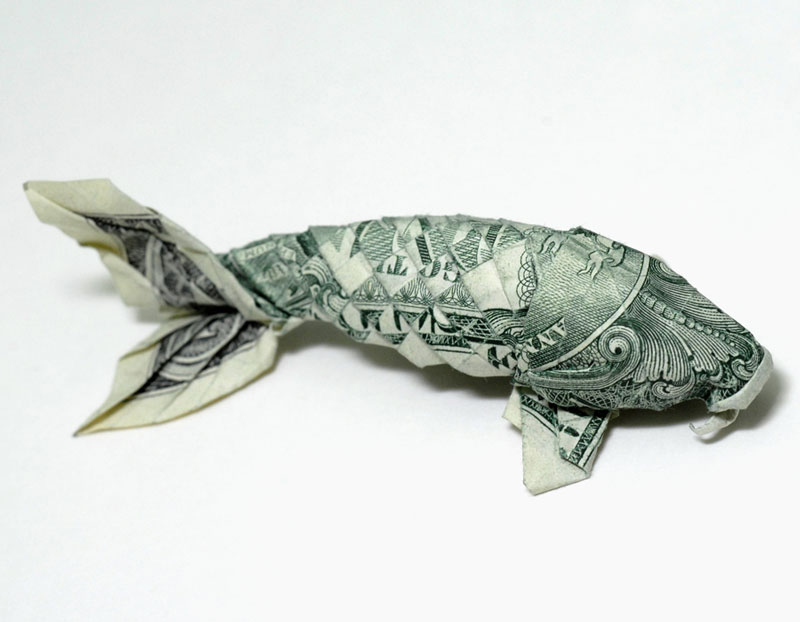 Koi fish made from dollar bill