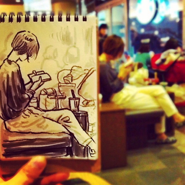 speed sketches of everyday scenes by hama house (7)