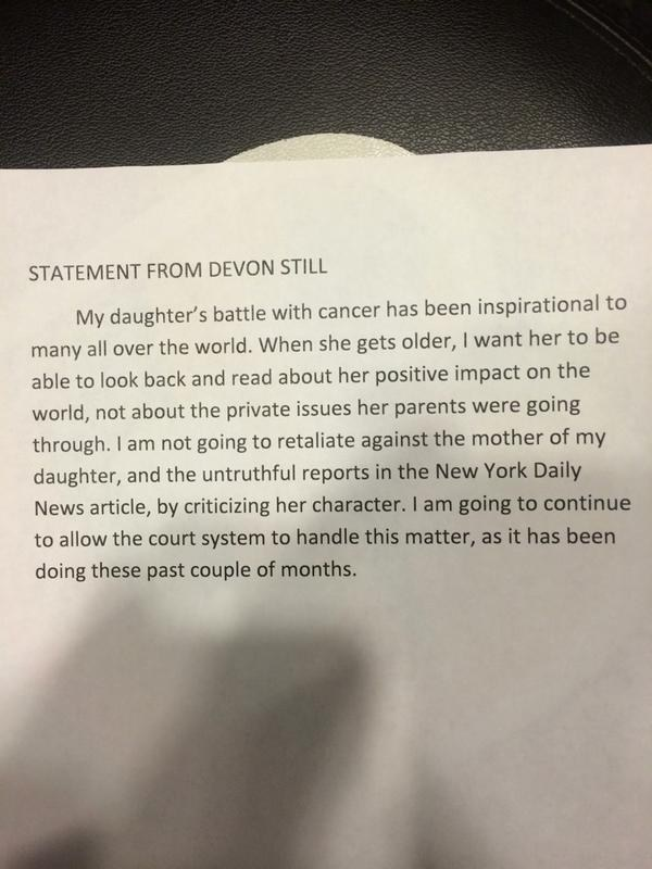 ESPN Bengals reporter Coley Harvey posted this statement from Devon Still on Twitter:
