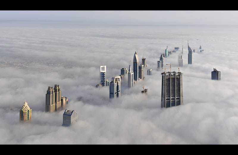 dubai cloud city sheikh zayed road from burj dubai