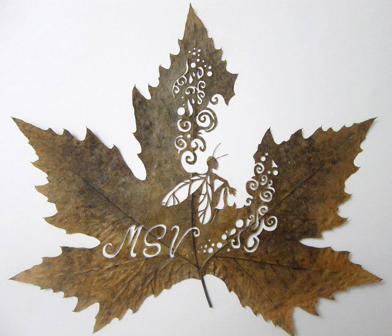 2. Precision cut leaf artwork by Lorenzo Duran