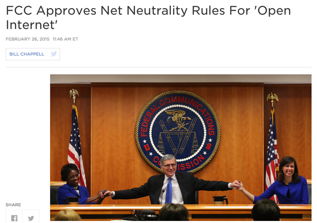 "And the FCC approved a historic policy for an ""open internet""."