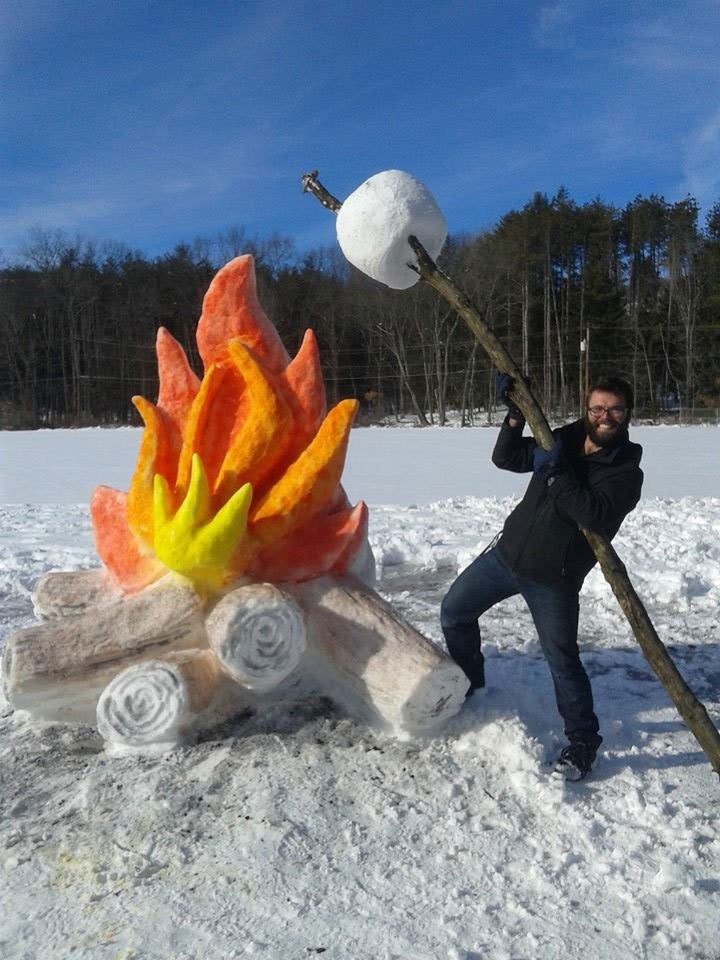 Giant Fire and Marshmallow Out of Snow by shaffer art studio (1)