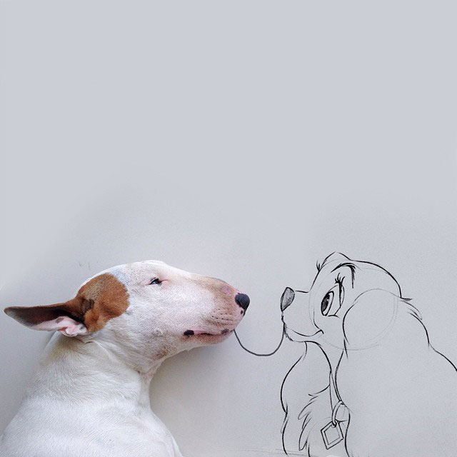 Artist Takes Portraits of His Bull Terrier and Illustrates the Background