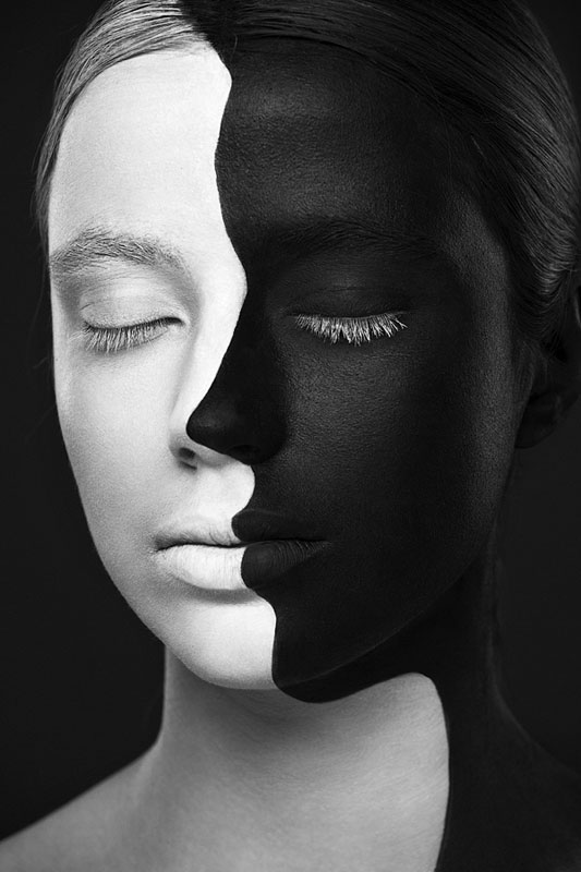 Black and White Portraits of Faces Painted Black and White (8)