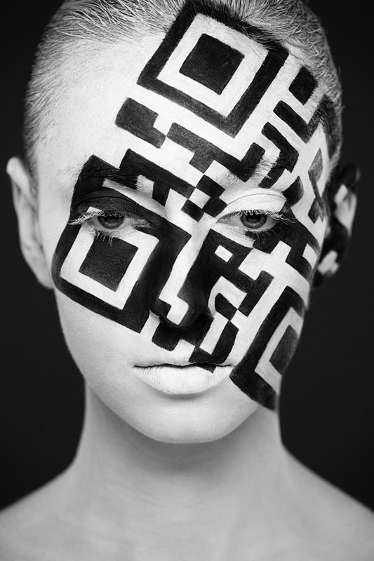 Black and White Portraits of Faces Painted Black and White (10)