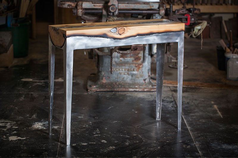 molten metal meets wood furniture hilla shamia (2)