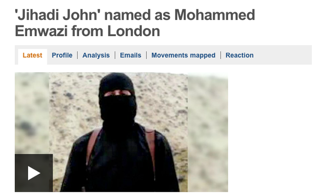 The masked ISIS militant, who's appeared in the videos of beheadings of Western hostages, has been named.